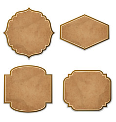 set of leather realistic vintage labels vector image vector image