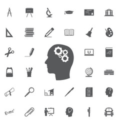 thinking icon silhouette of gear in head flat vector image vector image