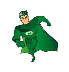 a cartoon superhero character with a green cape vector image vector image