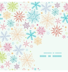 Colorful Doodle Snowflakes Corner Frame Seamless vector image