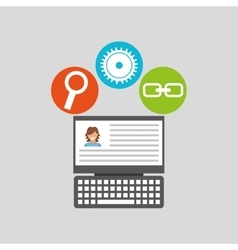 Laptop profile technology social media concept vector