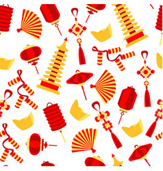 seamlees pattern of chinese red symbol vector image vector image