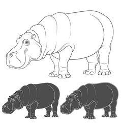 set of with a hippopotamus vector image