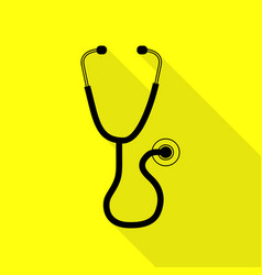 stethoscope sign black icon with vector image