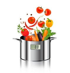 Vegetables falling into a pot Healthy and diet vector image vector image