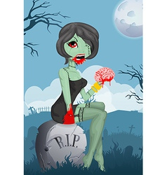 Cartoon zombie girl vector image