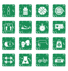 Healthy life icons set grunge vector