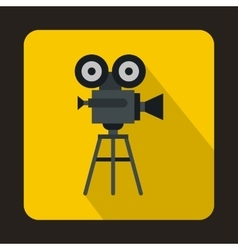 Old movie camera with reel icon flat style vector image