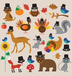 thanksgiving animals vector image