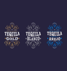 3 labels tequila packaging curlicues decor vector