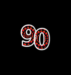 90 anniversary celebration bubble red number vector