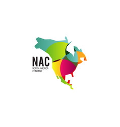 abstract colorful north america company with map vector image
