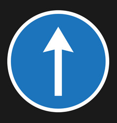 Ahead only and drive straight sign flat icon vector