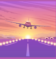Airplane on pink background with sunset a flying vector