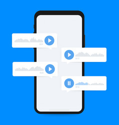 Audio message voice message on smartphone screen vector
