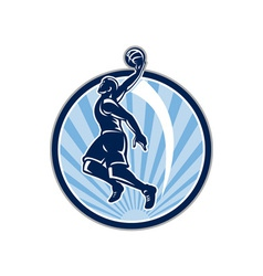 Basketball Player Dunk Ball Retro vector image