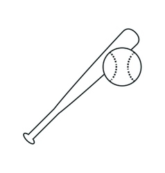 Bat and ball of baseball sport design vector image