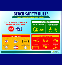 beach safety rules poster or public health vector image