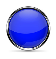 Blue round glass button with chrome frame vector