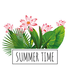 botanical composition slogan summer time pink vector image