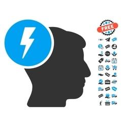 Brain Electricity Icon With Free Bonus vector
