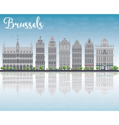 Brussels skyline with Ornate buildings vector image
