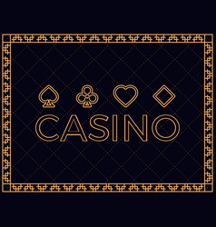 Casino background with art deco frame and card vector