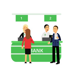 Cheerful bank employees and clients at reception vector