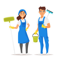 Cleaning service man and woman vector