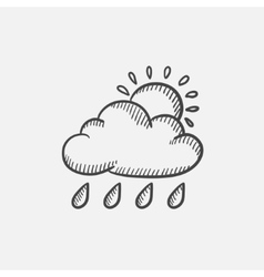 Cloud with rain and sun sketch icon vector