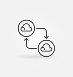 clouds connected with arrows line icon cloud vector image