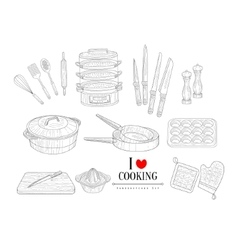 Cooking Related Clipart Objects Hand Drawn vector