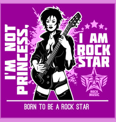 cool rock star girl playing guitar vector image