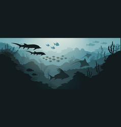 coral reef and underwater sea with fish vector image