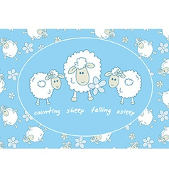 Counting sheep falling asleep vector image