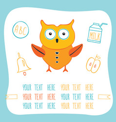 cute cartoon owl milk ring bell and apple back vector image