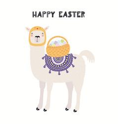 Cute llama easter card vector