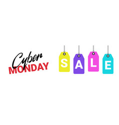 cyber monday poster sale text on shopping tags vector image