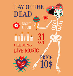day death theme party promo poster with vector image