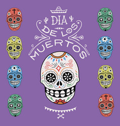 death day mexico skull color vector image