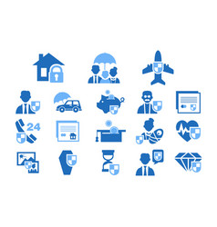 diverse insurance blue icons set insurance of vector image