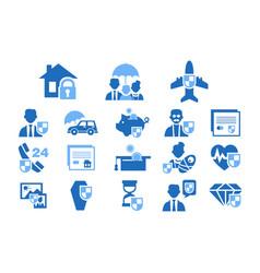 diverse insurance blue icons set insurance vector image
