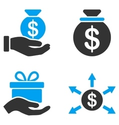 Donation Flat Bicolor Icons vector