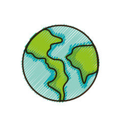 Doodle earth planet with continent geography and vector