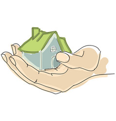 drawn humans hand holding house with green roof vector image