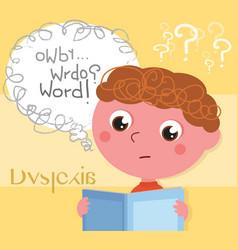 dyslexic boy with book vector image