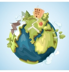 Earth planet with buildings trees mountains and vector image