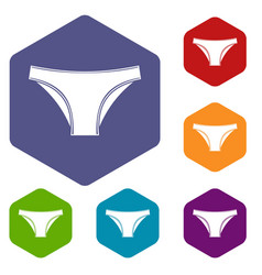 female cotton panties icons set hexagon vector image