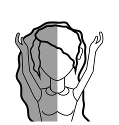 Figure beautiful woman with blouse and hands up vector