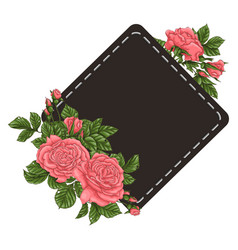 frame coral roses hand drawing vector image